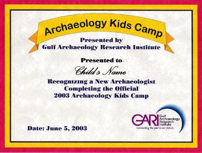 summer camp certificate of