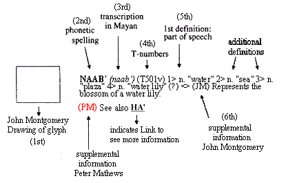 Example of elements used in entries for this on-line Maya dictionary.