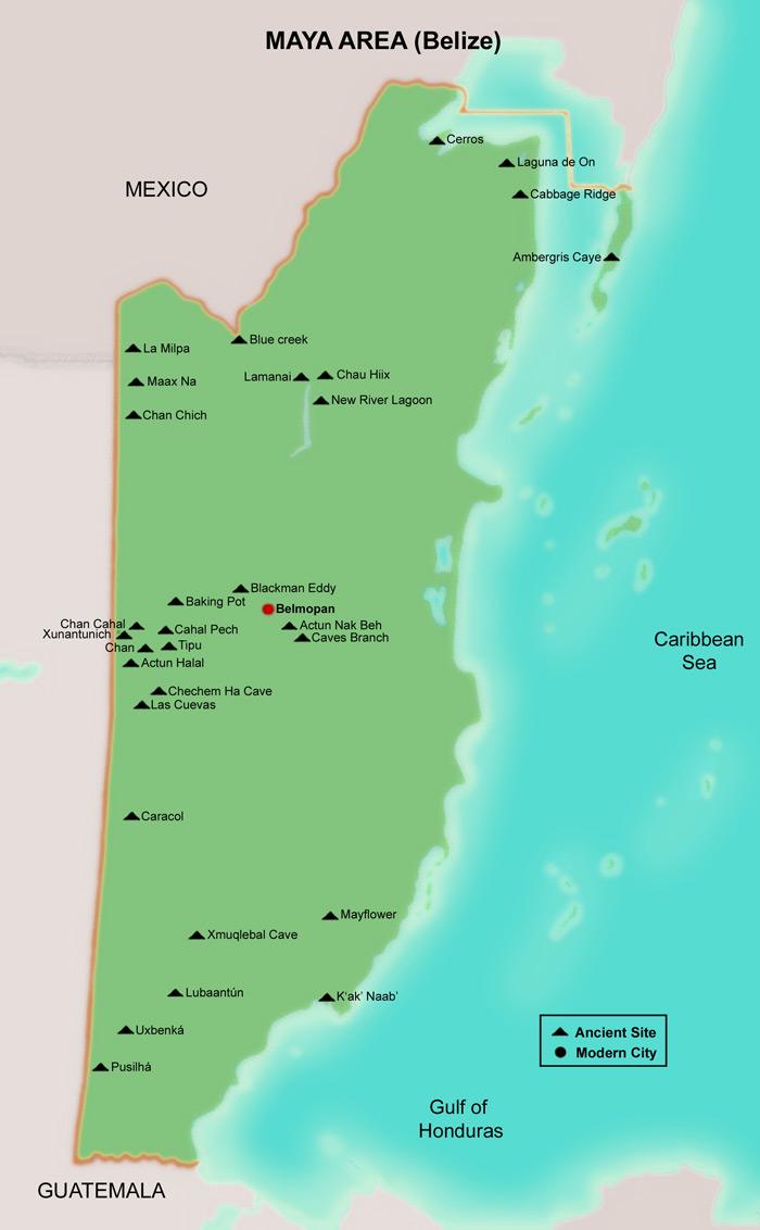 FAMSI Map Belize Maya Mesoamerica - Belize map belmopan