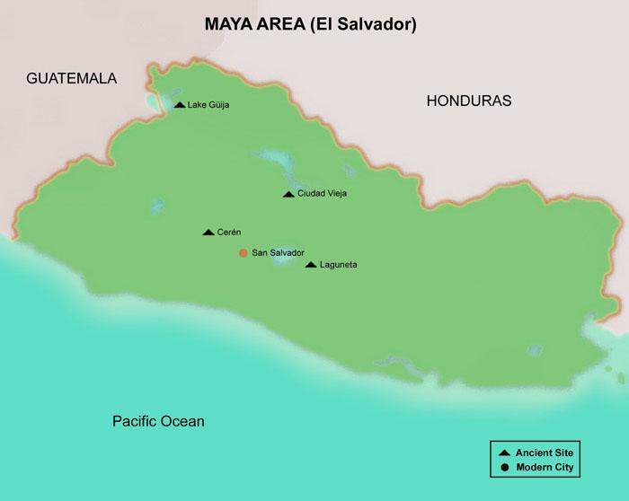 FAMSI Map El Salvador Maya Mesoamerica - Cities map el salvador map