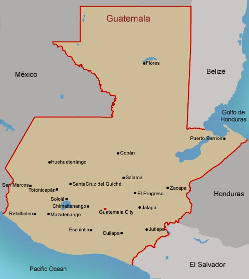 FAMSI Map Of Guatemala - Departments map of guatemala