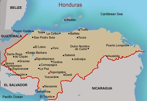 FAMSI Map Of Honduras - Map of honduras