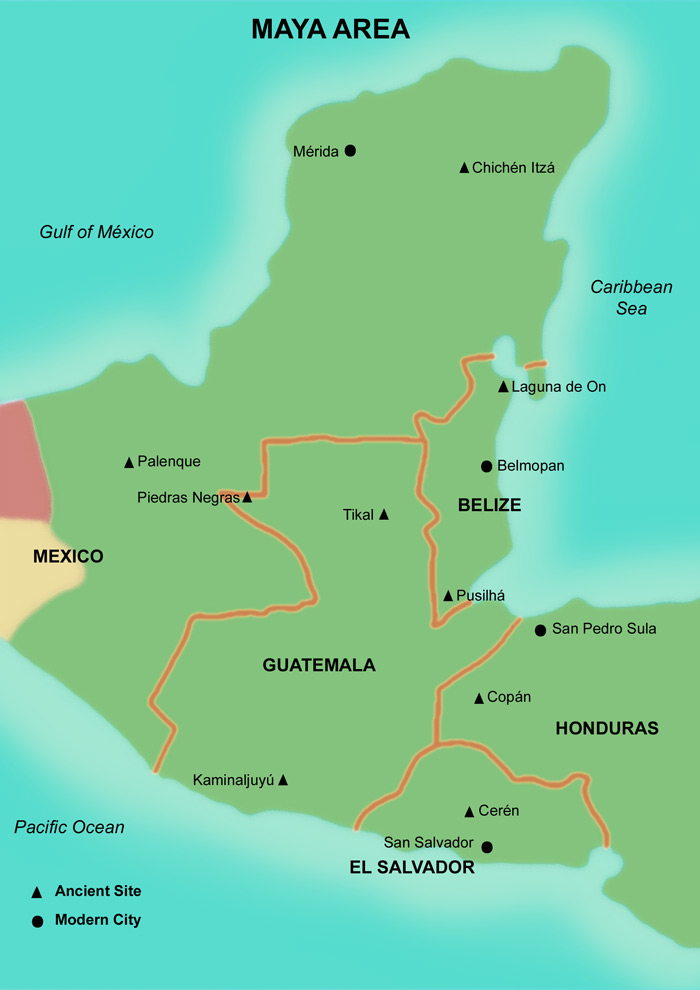 Maya Area Map