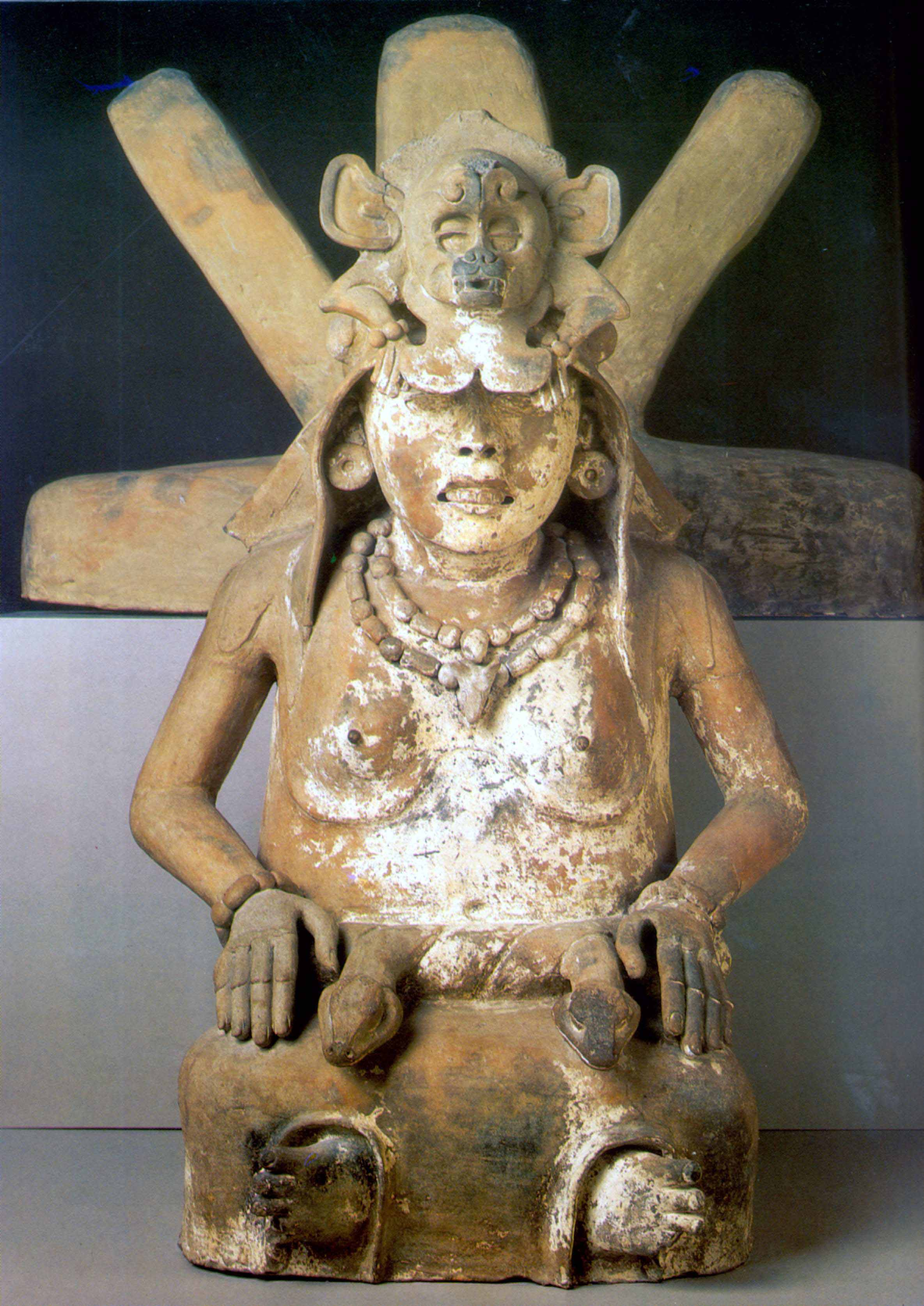 Seated Cihuateteo sculpture