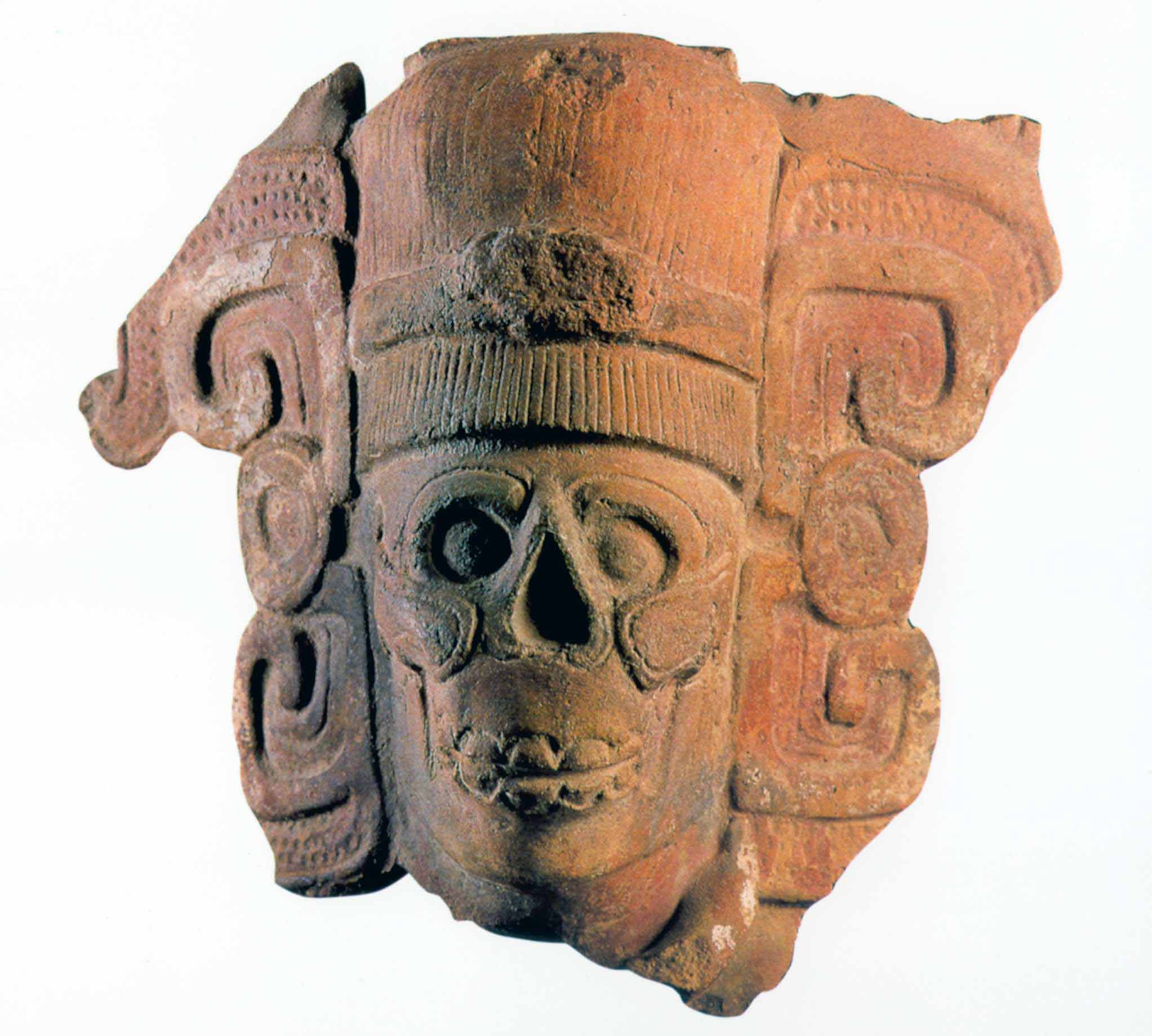 Hollow ceramic head depicts the Lord of the Underworld