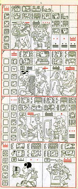 Dibujo de Gates del Códice Dresden de la Página 2, haga clic para imagen de tamaño completo