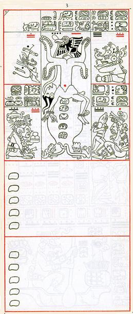Dibujo de Gates del Códice Dresden de la Página 3, haga clic para imagen de tamaño completo