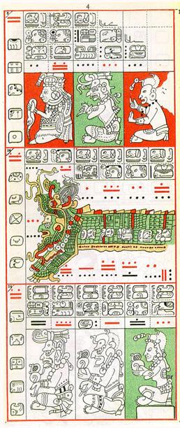 Dibujo de Gates del Códice Dresden de la Página 4, haga clic para imagen de tamaño completo