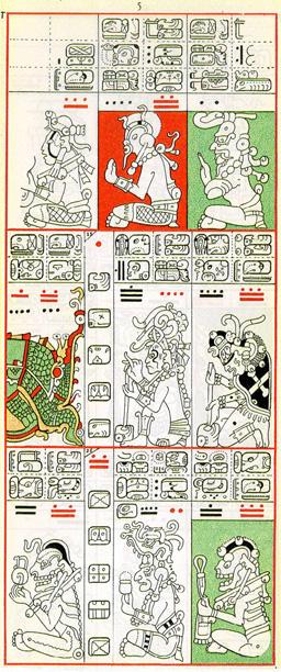 Dibujo de Gates del Códice Dresden de la Página 5, haga clic para imagen de tamaño completo